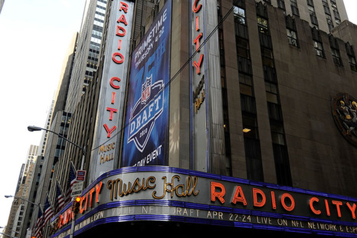 NEW YORK - APRIL 22:  A exterior view of Radio City Music Hall during the 2010 NFL Draft at Radio City Music Hall on April 25, 2009 in New York City.  (Photo by Jeff Zelevansky/Getty Images)