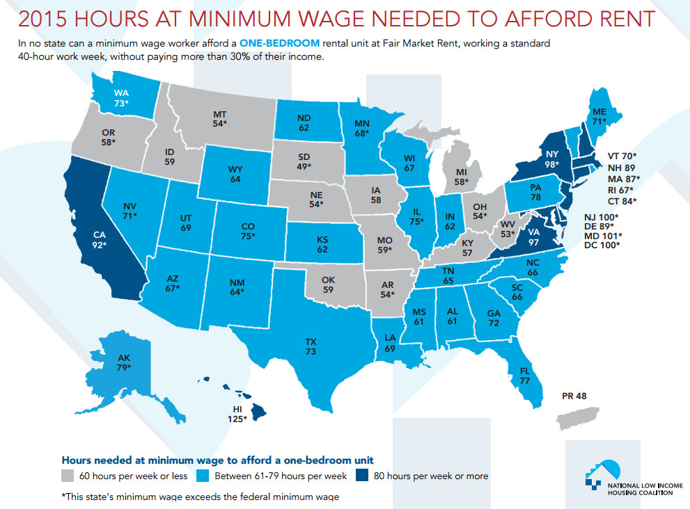 A map of the number of hours of minimum-wage work needed to afford rent for a one-bedroom apartment.