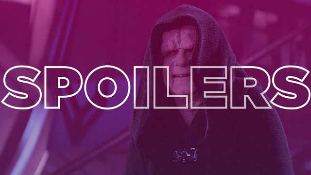 "Emperor Palpatine from Star Wars with the words ""spoilers"" superimposed over the center of the image"