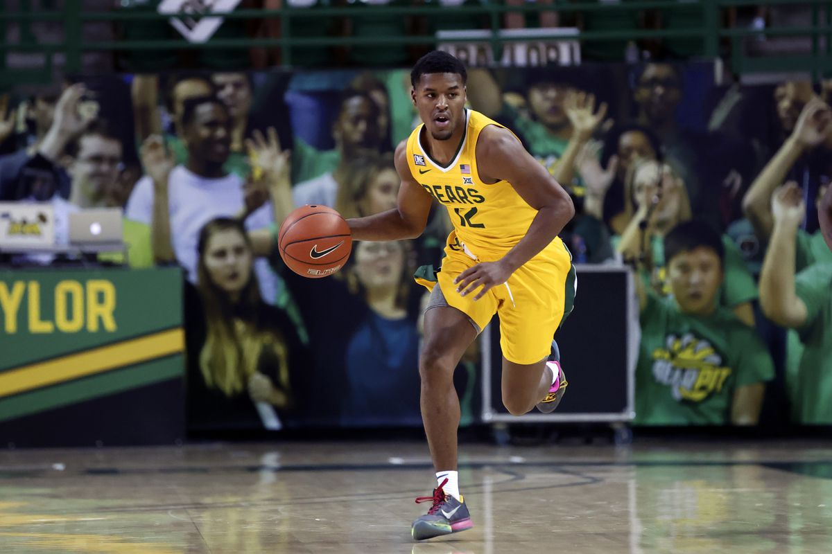 Baylor Bears guard Jared Butler dribbles during the second half against the Oklahoma Sooners at Ferrell Center.