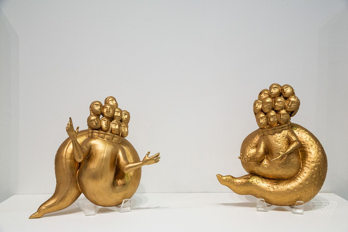 """Morehshin Allahyari's Ya'Jooj Ma'Jooj sculptures 3D printed in resin and painted (2018). The figure is part of the project, She Who See's The Unknown which """"recontextualizes goddesses and female Jinn of Persian and Arabic origin"""" and """"explores ancient myths as they relate to digital colonialism, oppression and catastrophe."""""""