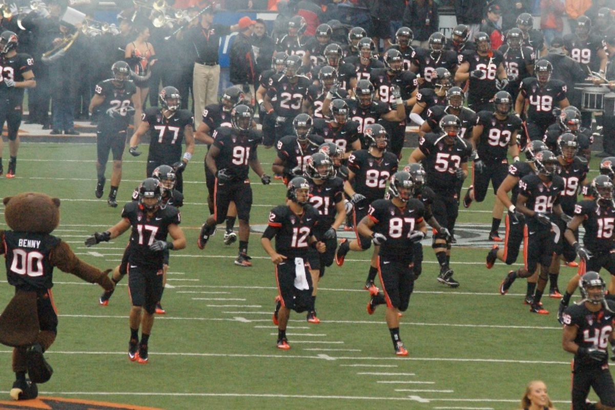 Here Come The Beavers! Saturday is the Spring Game/Scrimmage at Reser, where Oregon St. fans will get a taste of things to come to carry them over until fall.  <em>(Photo by Andy Wooldridge)</em>