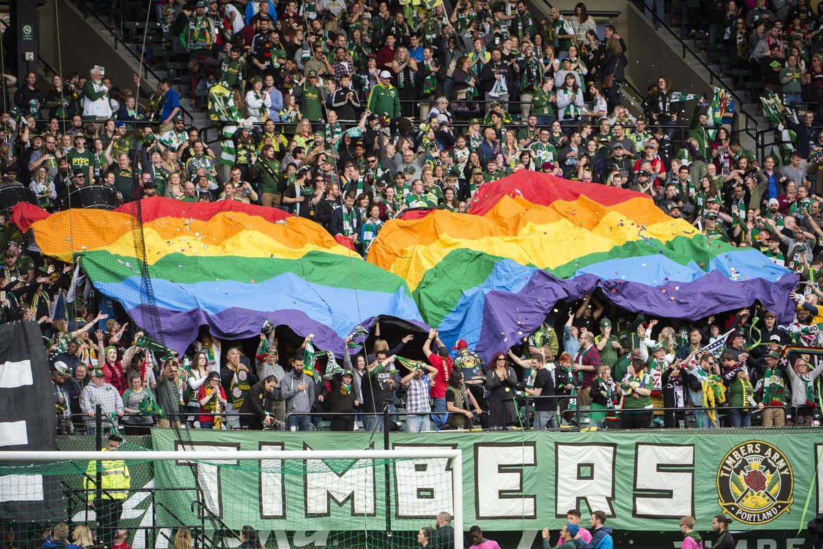 Image result for gay flag in football match crowd