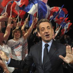 French incumbent President and Union for a Popular Movement (UMP) candidate for the French 2012 presidential elections Nicolas Sarkozy arrives at a meeting campaign in Nancy, eastern France, Monday, April 2, 2012.