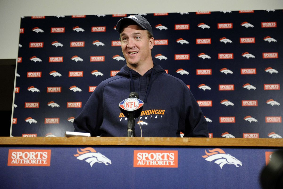 April 16 2012; Englewood, CO, USA; Denver Broncos quarterback Peyton Manning (18) speaks to the media during a press conference held at Broncos headquarters. Mandatory Credit: Ron Chenoy-US PRESSWIRE