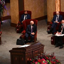 Church leaders are seated before the start of the Saturday afternoon session of the 190th Semiannual General Conference of The Church of Jesus Christ of Latter-day Saints on Oct. 3, 2020.