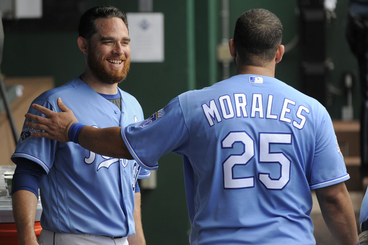 Kennedy and Morales celebrate after Morales second home run of the day