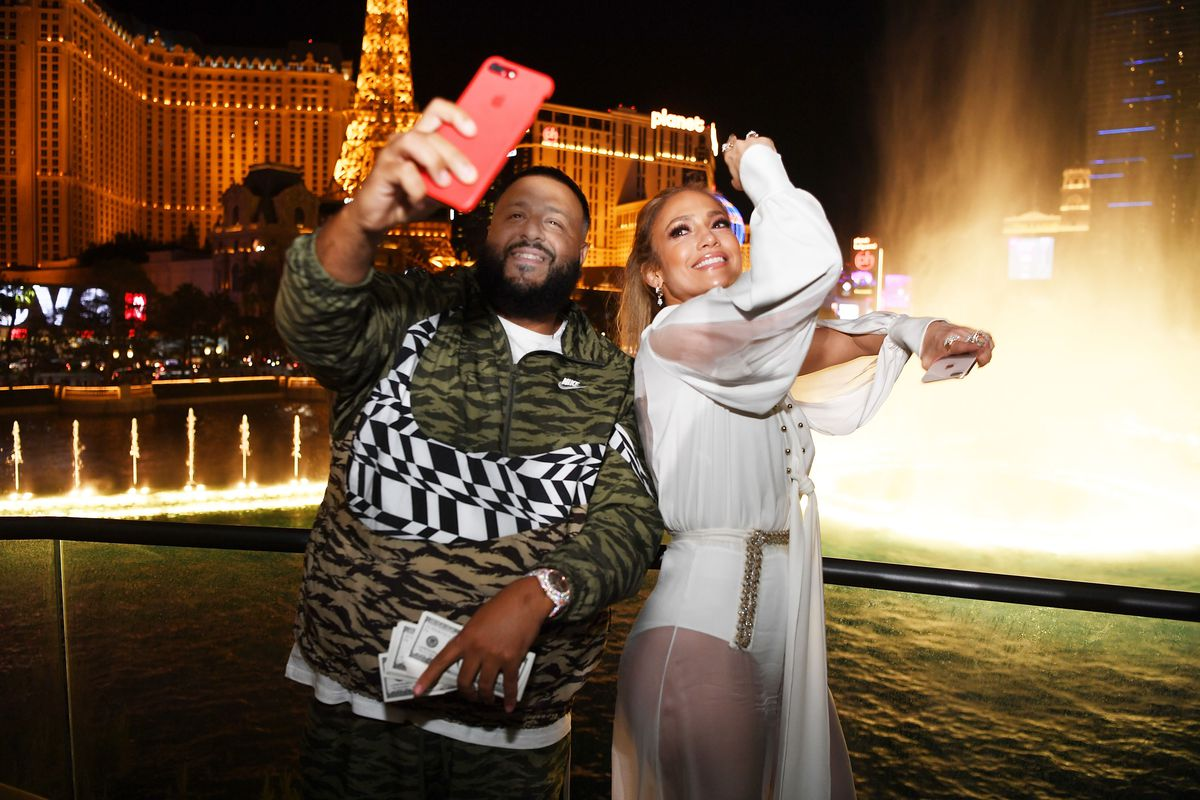 DJ Khaled and Jennifer Lopez on the patio of the new Spago at the Bellagio