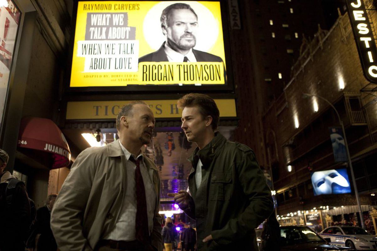 Michael Keaton and Edward Norton star in Birdman, which won Best Picture at the Oscars.