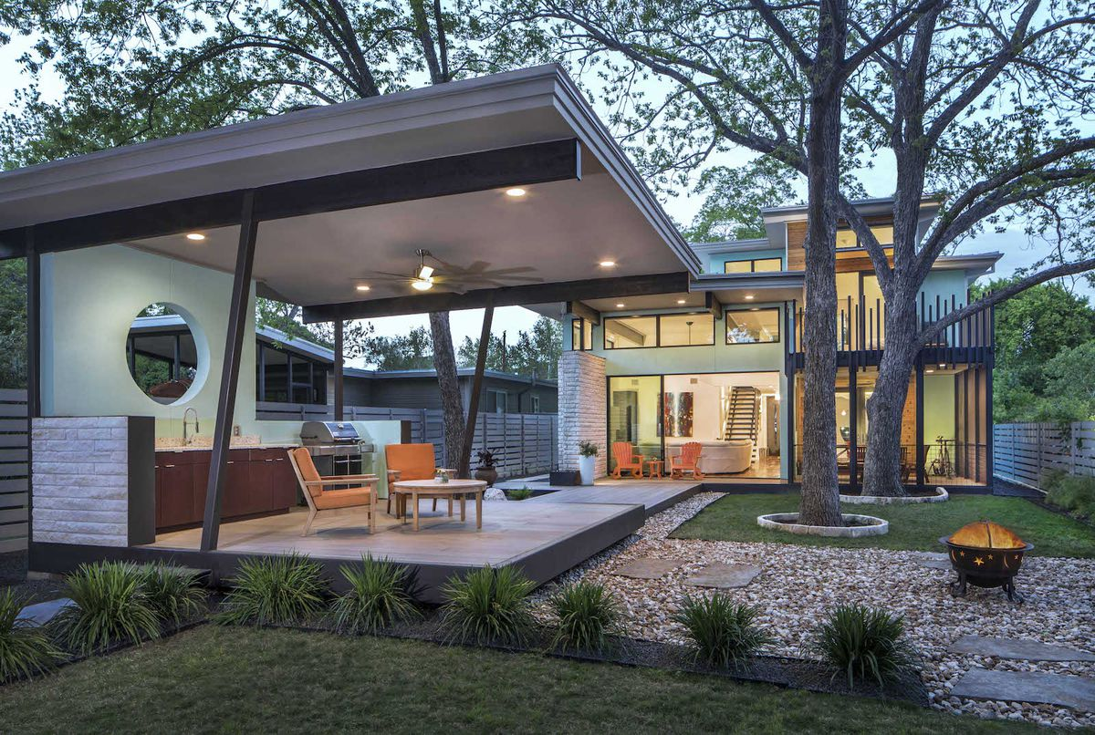 Contemporary house and large covered deck in back