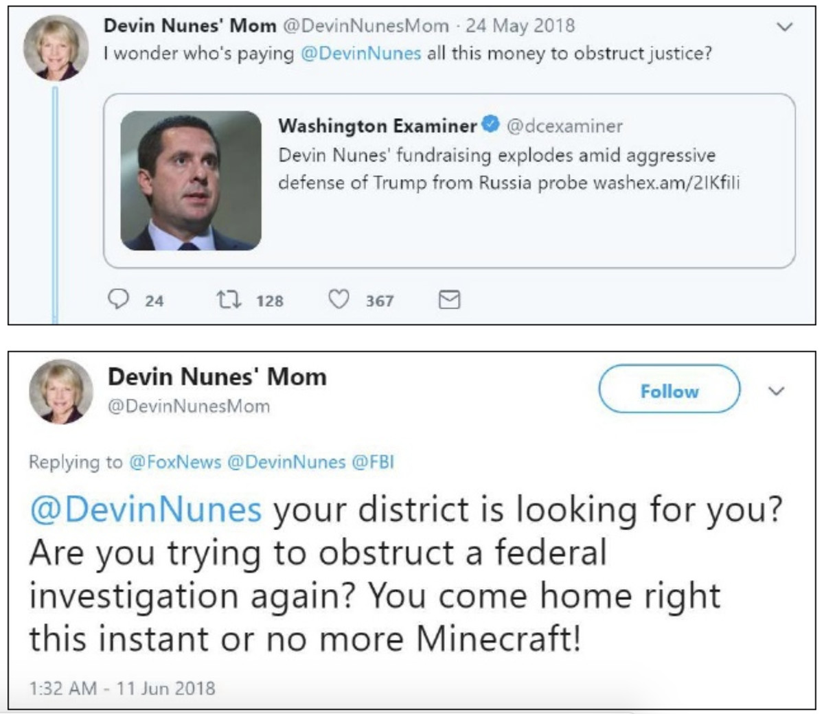 Devin Nunes' Mom lawsuit tweets