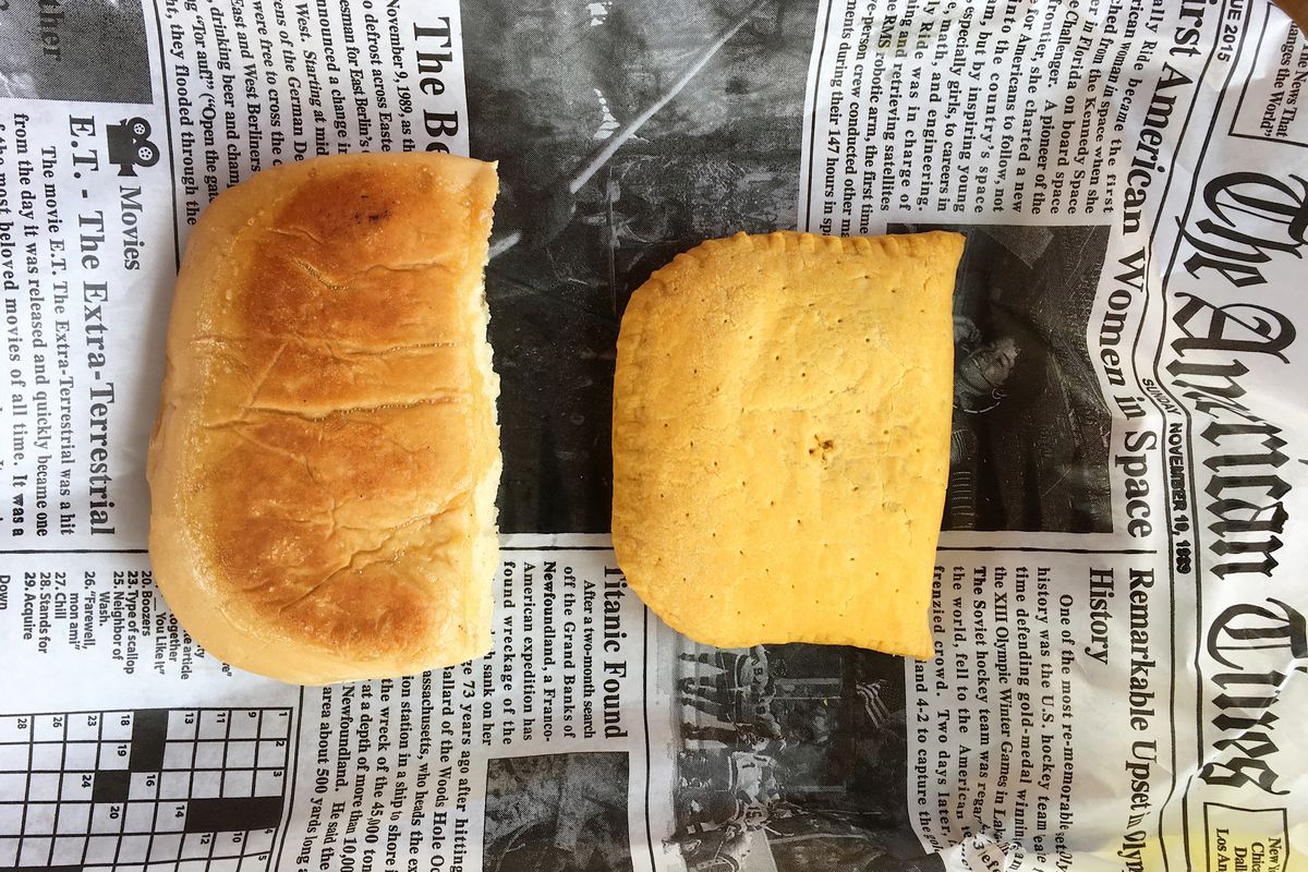 The patty and coco bread from the Jerk Shack