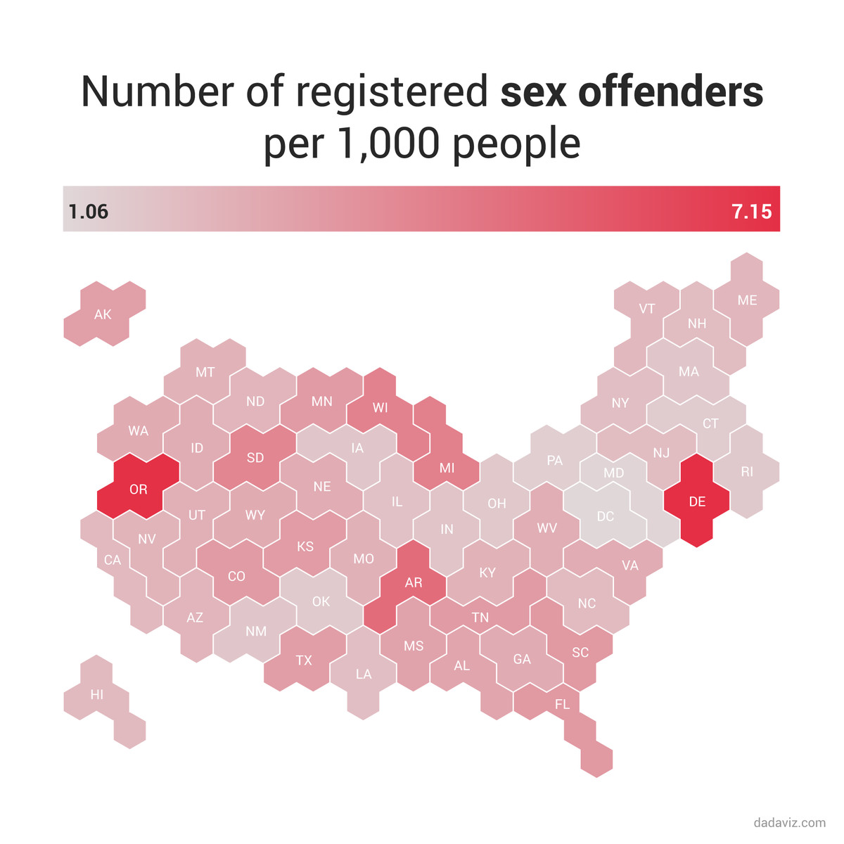 A map of the rate of registered sex offenders per 1,000 people in each state.