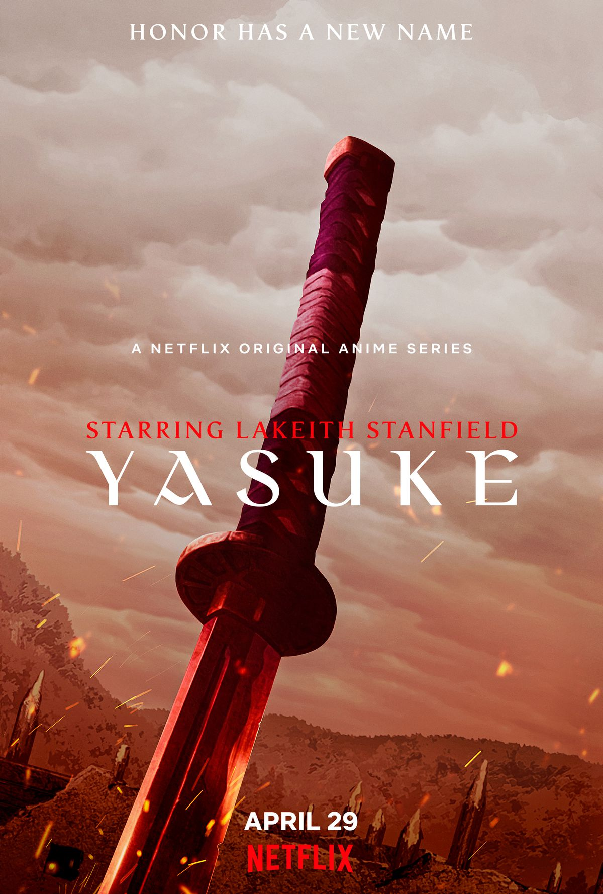 A poster for Netflix's Yasuke anime with a sword stuck into the ground in front of a field