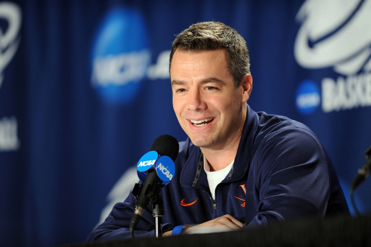 Virginia men's basketball head coach Tony Bennett is all smiles after extending his contract for an additional five years with UVA. (Peter G. Aiken-US PRESSWIRE)