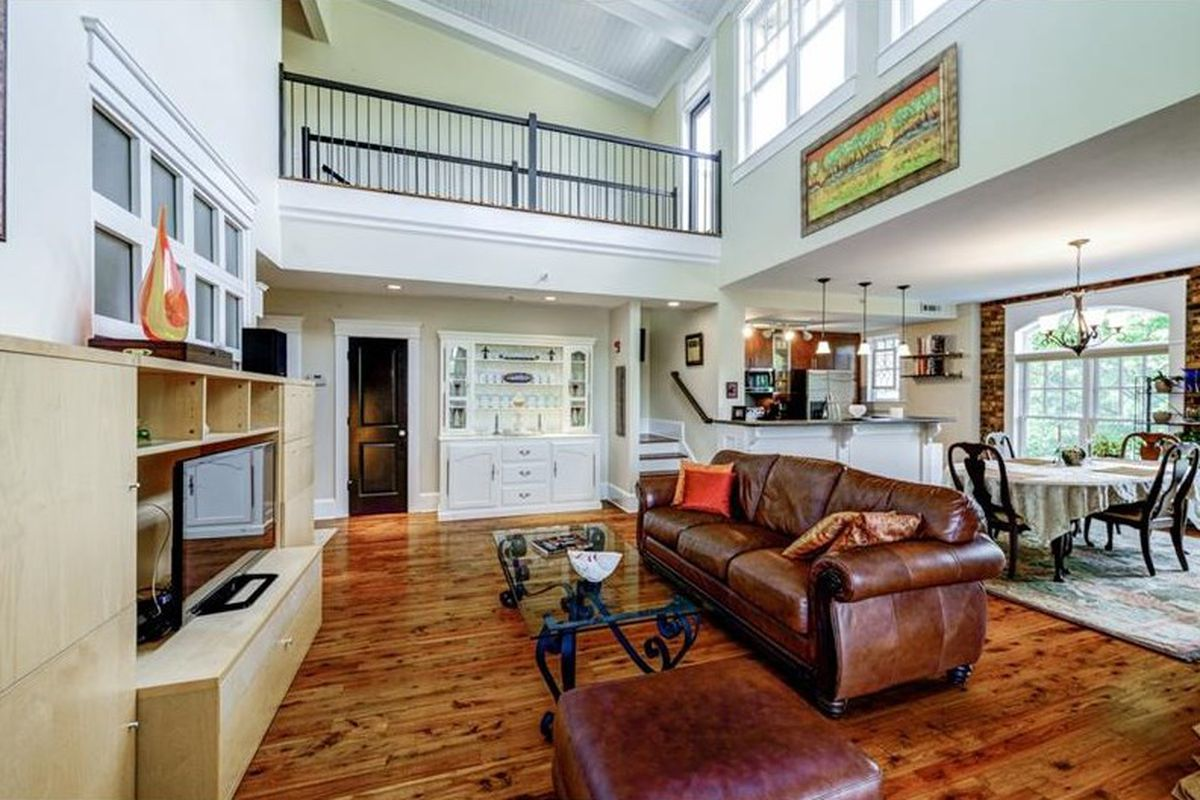 An open floorplan with a living room and kitchen.