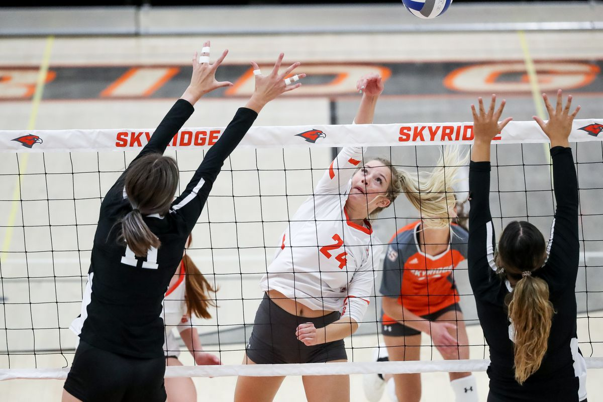 Skyridge and Copper Hills compete in a high school volleyball match in Lehi on Tuesday, Sept. 8, 2020.