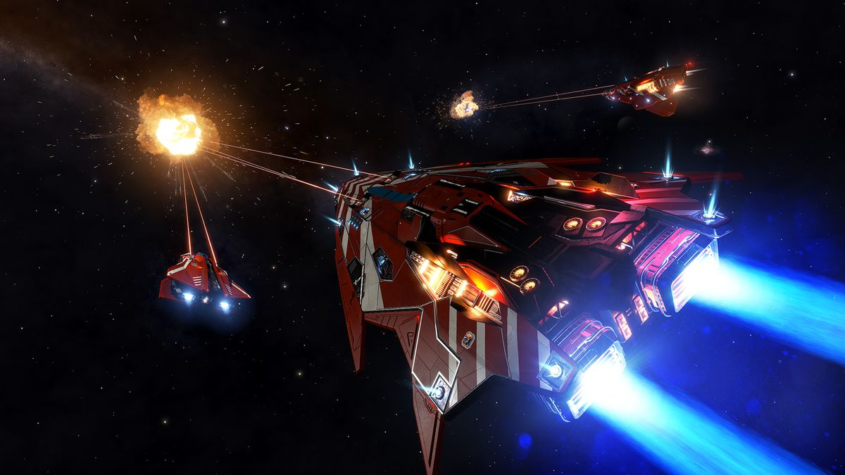A cruise of player-controlled ships destroys a aim.