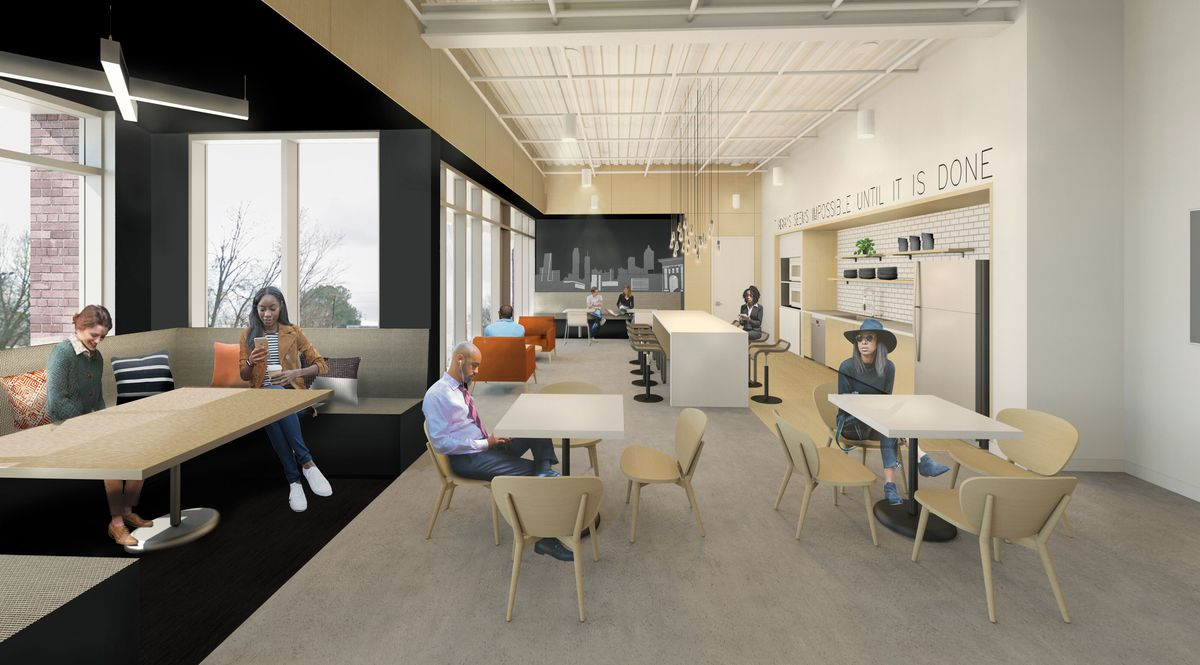 A rendering shows a black and beige break room wherein people are seated at white or tan rectangular tables and orange sofas.