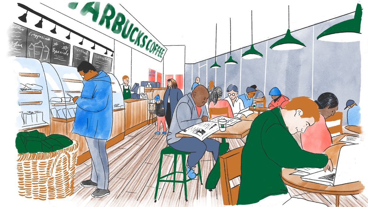 An illustration of people sitting at a Starbucks.