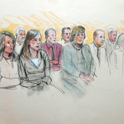Courtroom sketch depicts the jury in the Brian David Mitchell trial holding a press conference Friday after the verdict. Juror 1 is front row left, juror 7 in back row left.