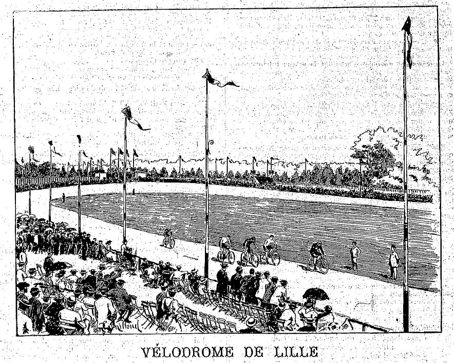 The Vélodrome de Lillois, Dutrieu's local track, from an illustration in 'Véloce Sport'