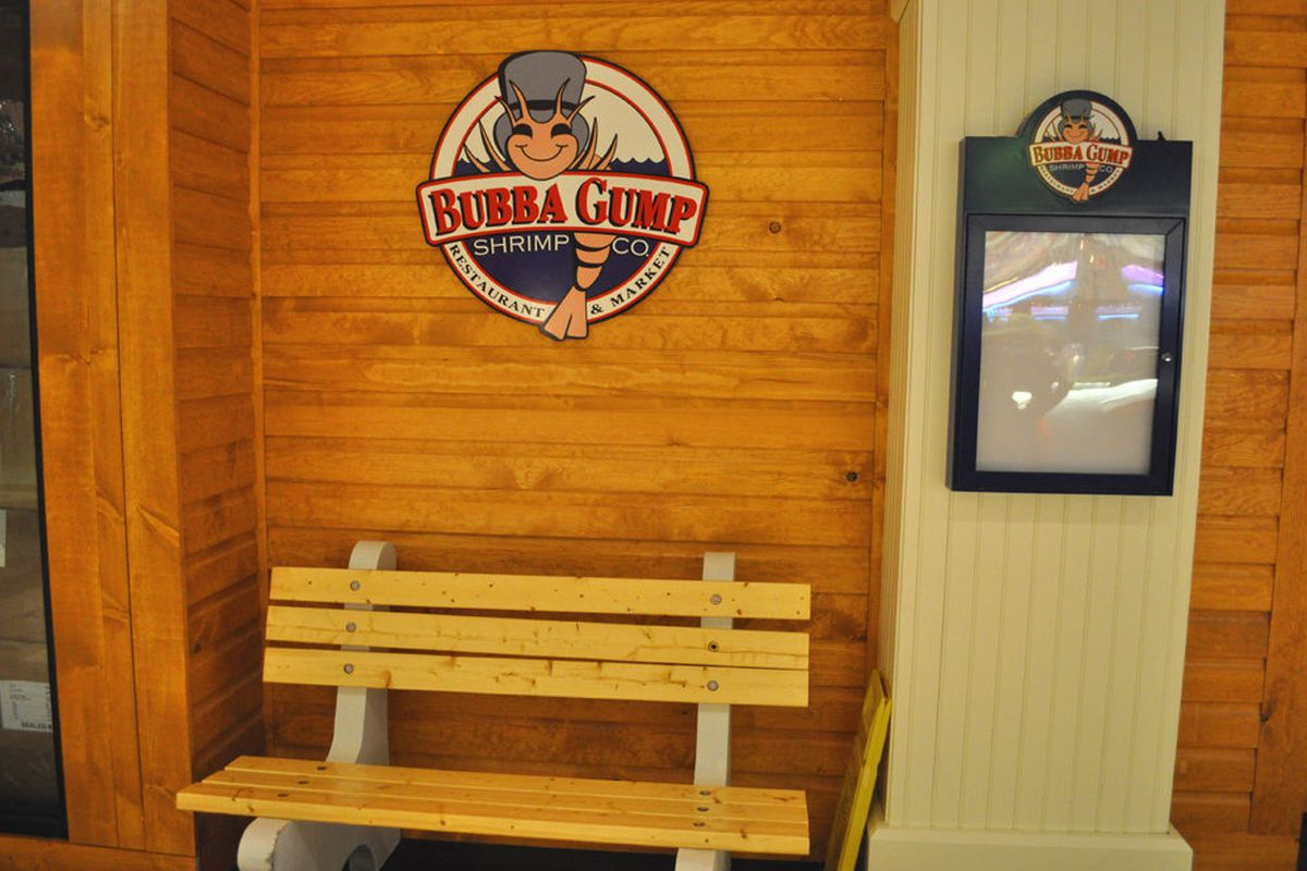The restaurant chain's version of the iconic bench seen in the film, Forrest Gump.