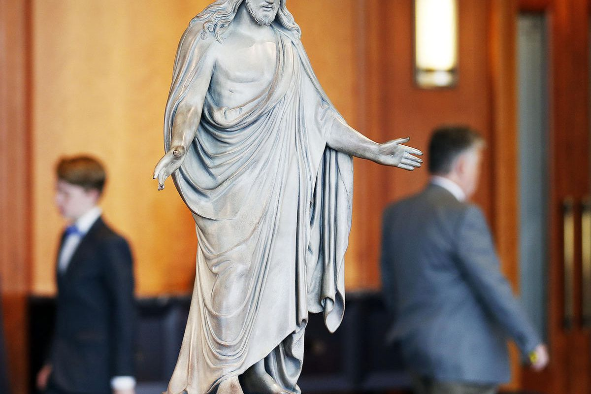 A sculpture of Jesus Christ is shown during the Saturday afternoon session of the 187th Semiannual General Conference of The Church of Jesus Christ of Latter-day Saints in Salt Lake City on Saturday, Sept. 30, 2017.