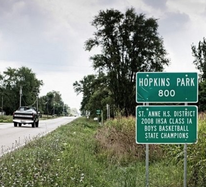 Hopkins Park, pop. 800, as the sign heading out of town says. Or is it 700, as the sign heading in to the rural Kankakee County village says?   Chicago Reader files