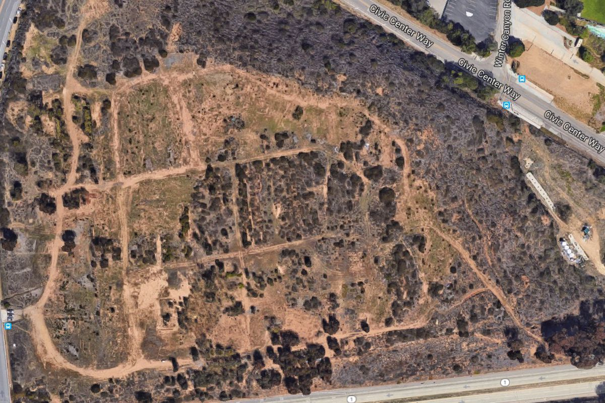 Aerial view of undeveloped land in Malibu