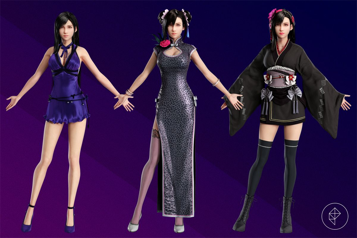 Tifa Lockhart stands with her arms out in three different dresses over a purple background