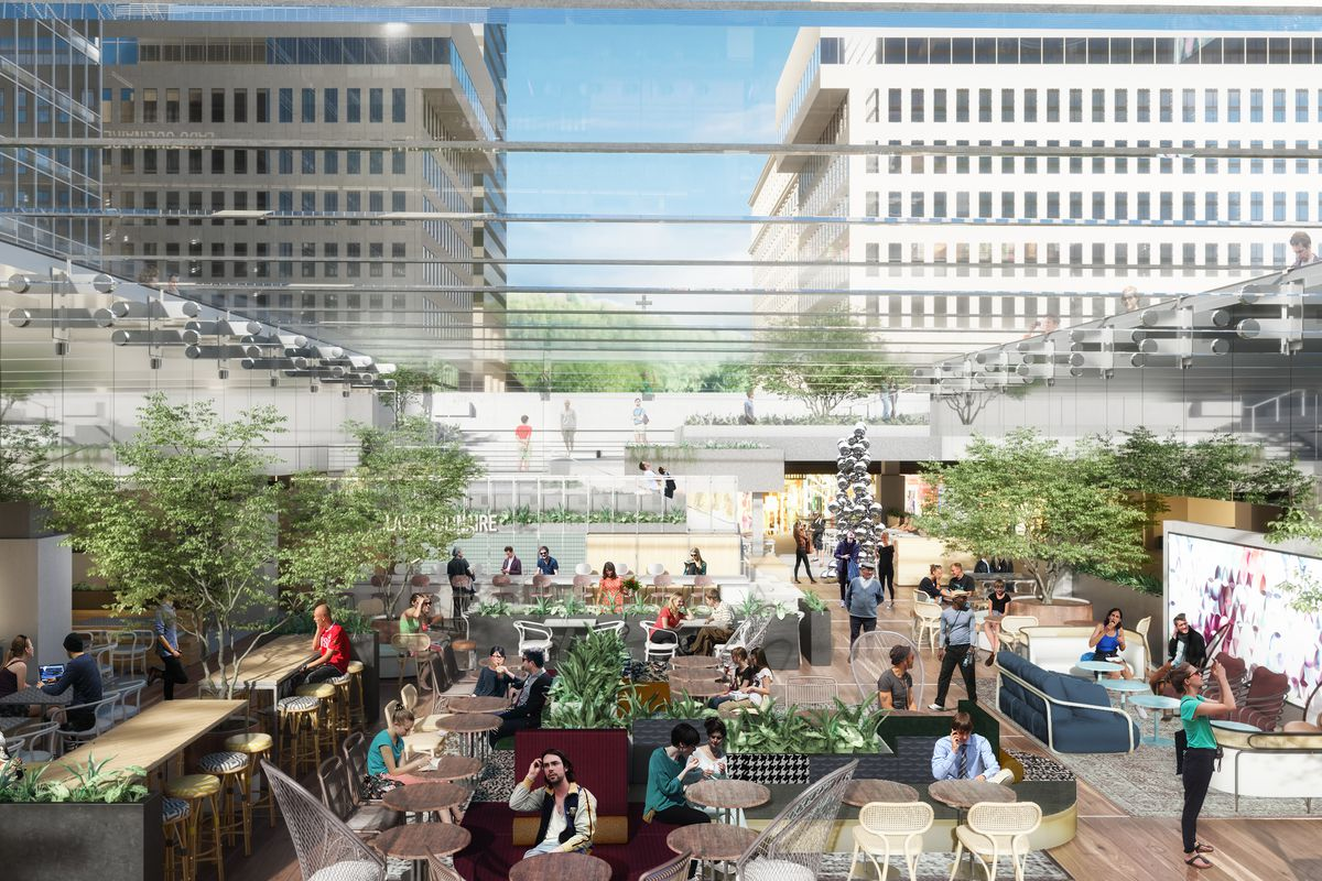 A rendering of Le Cathcart's internal garden and glass ceiling.