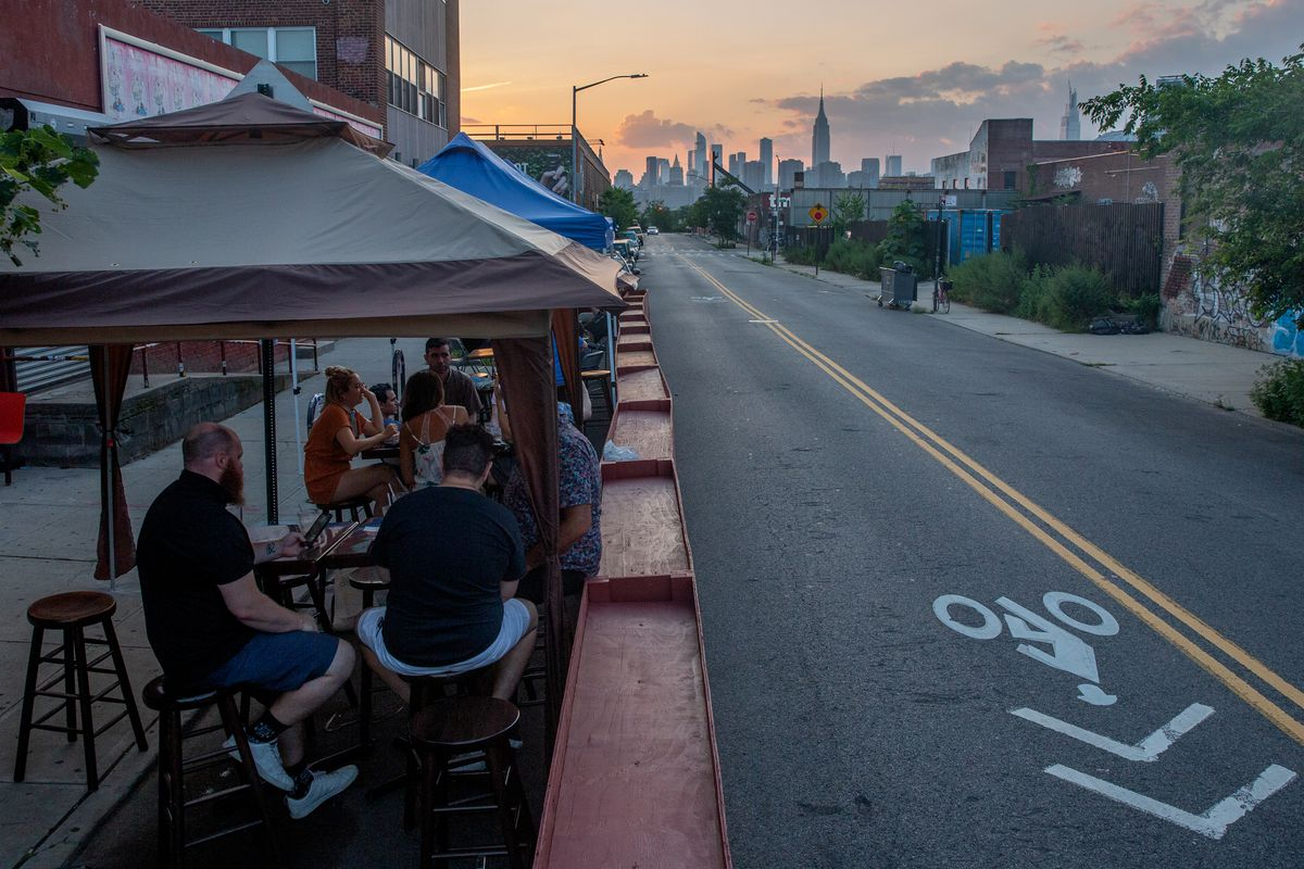 People enjoy outdoor dining and drinking at The Gutter in Williamsburg, July 20, 2020.