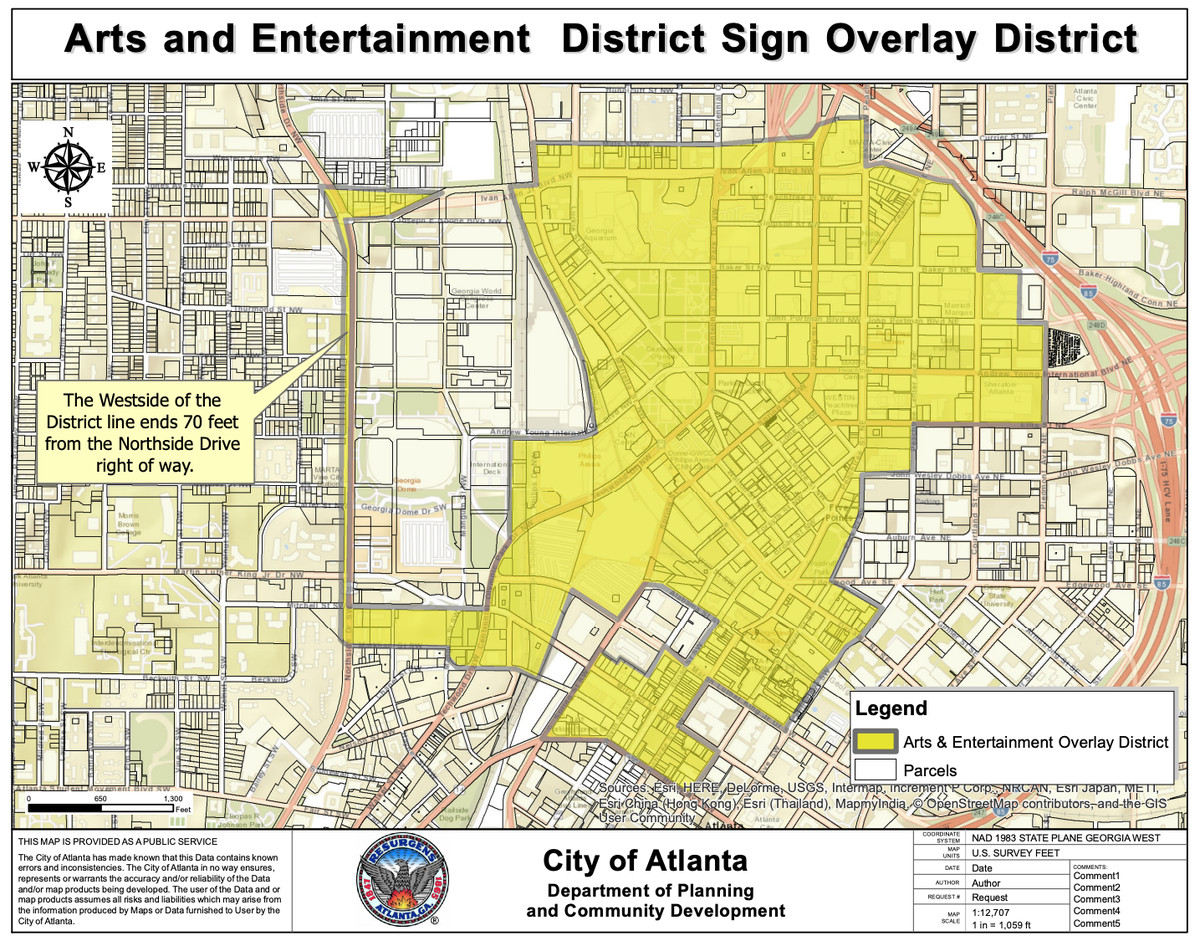 Map of downtown Atlanta, with the district highlighted in yellow.