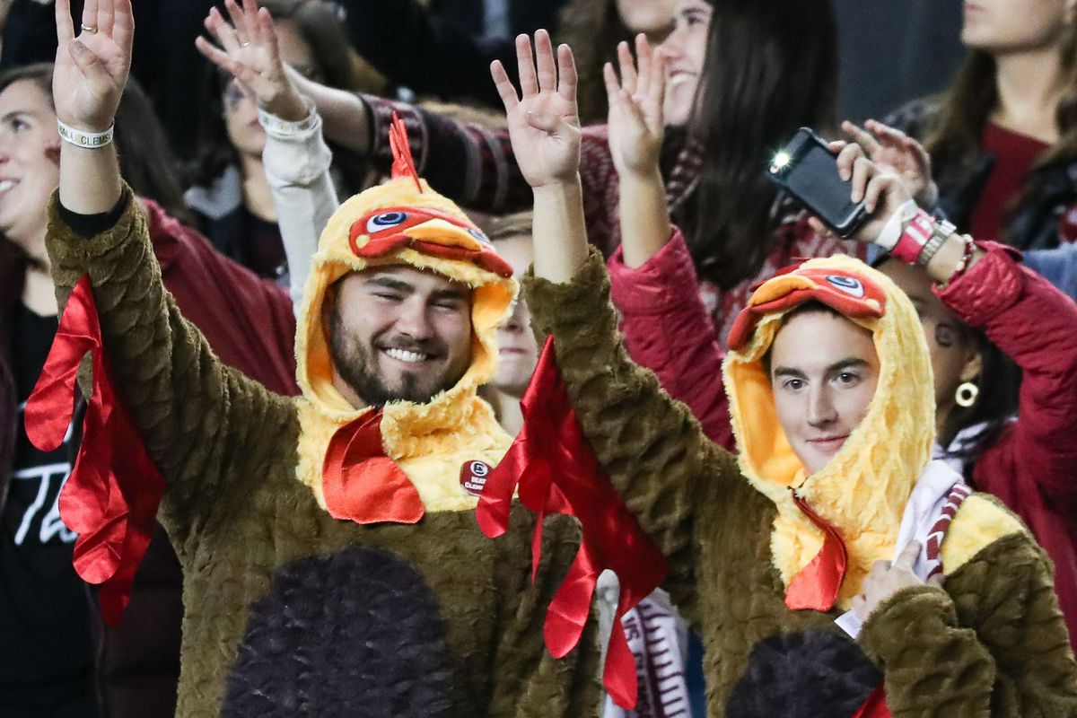 Nov 25, 2017; Columbia, SC, USA; Two South Carolina Gamecocks fans dressed for the holiday during the second half between the South Carolina Gamecocks and the Clemson Tigers at Williams-Brice Stadium. Mandatory Credit: Jim Dedmon-USA TODAY Sports