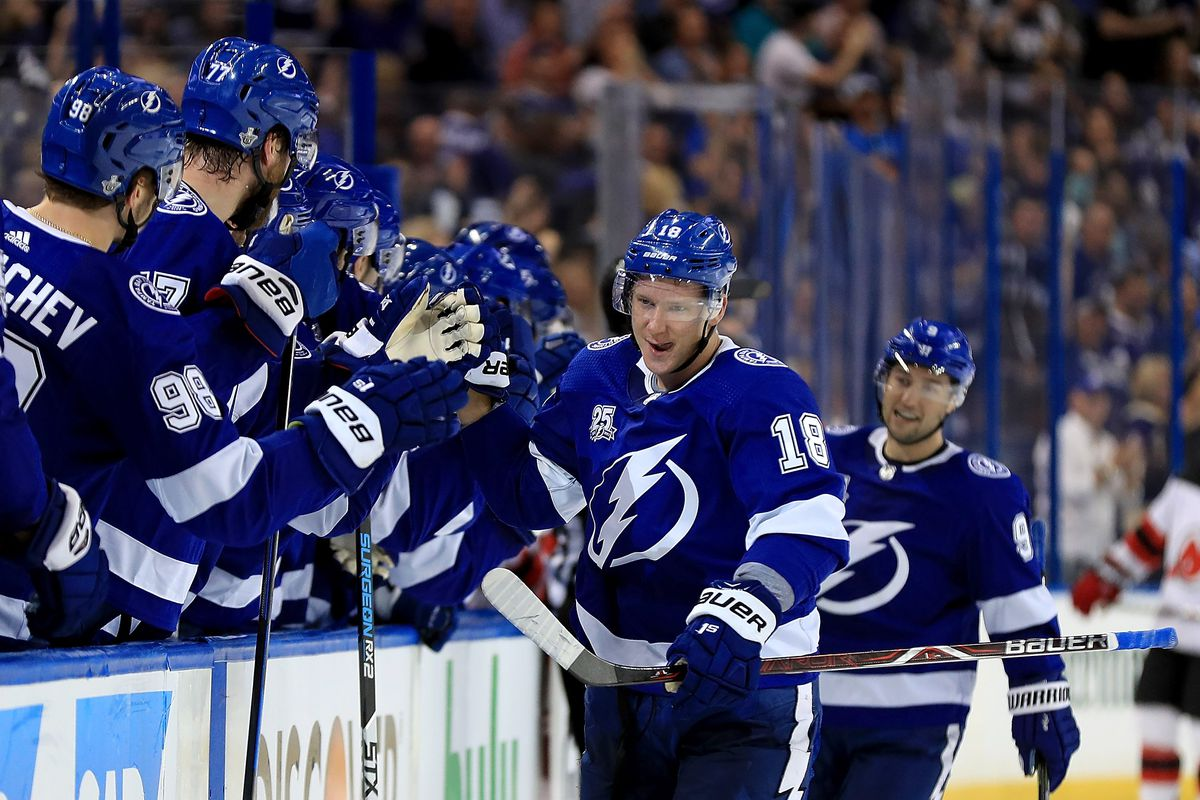 nhl playoffs lightning beat devils and ondrej palat is already