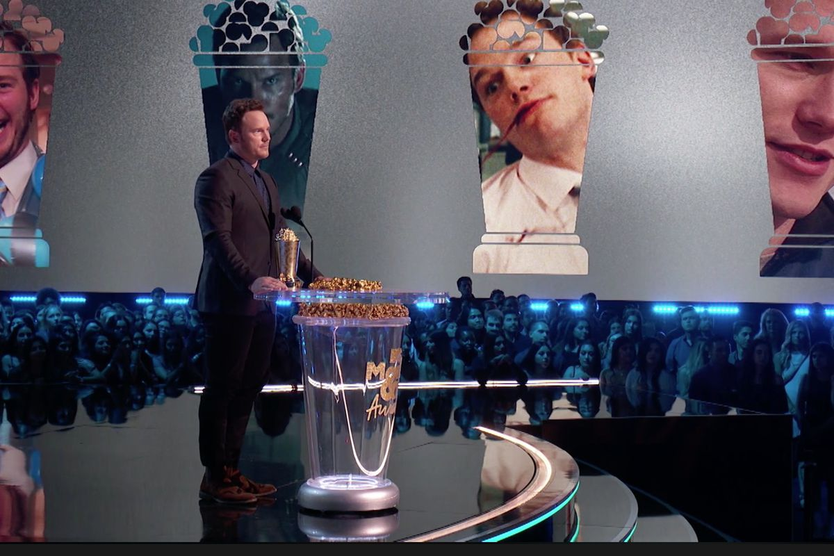 Actor Chris Pratt delivers a speech while accepting the Generation Award at the MTV Movie & TV Awards.