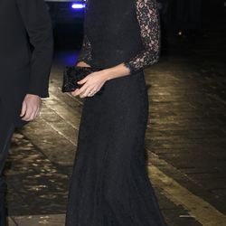 Attending the Royal Variety Performance at the London Palladium on November 13th, 2014 in a black lace Diane von Furstenberg gown.