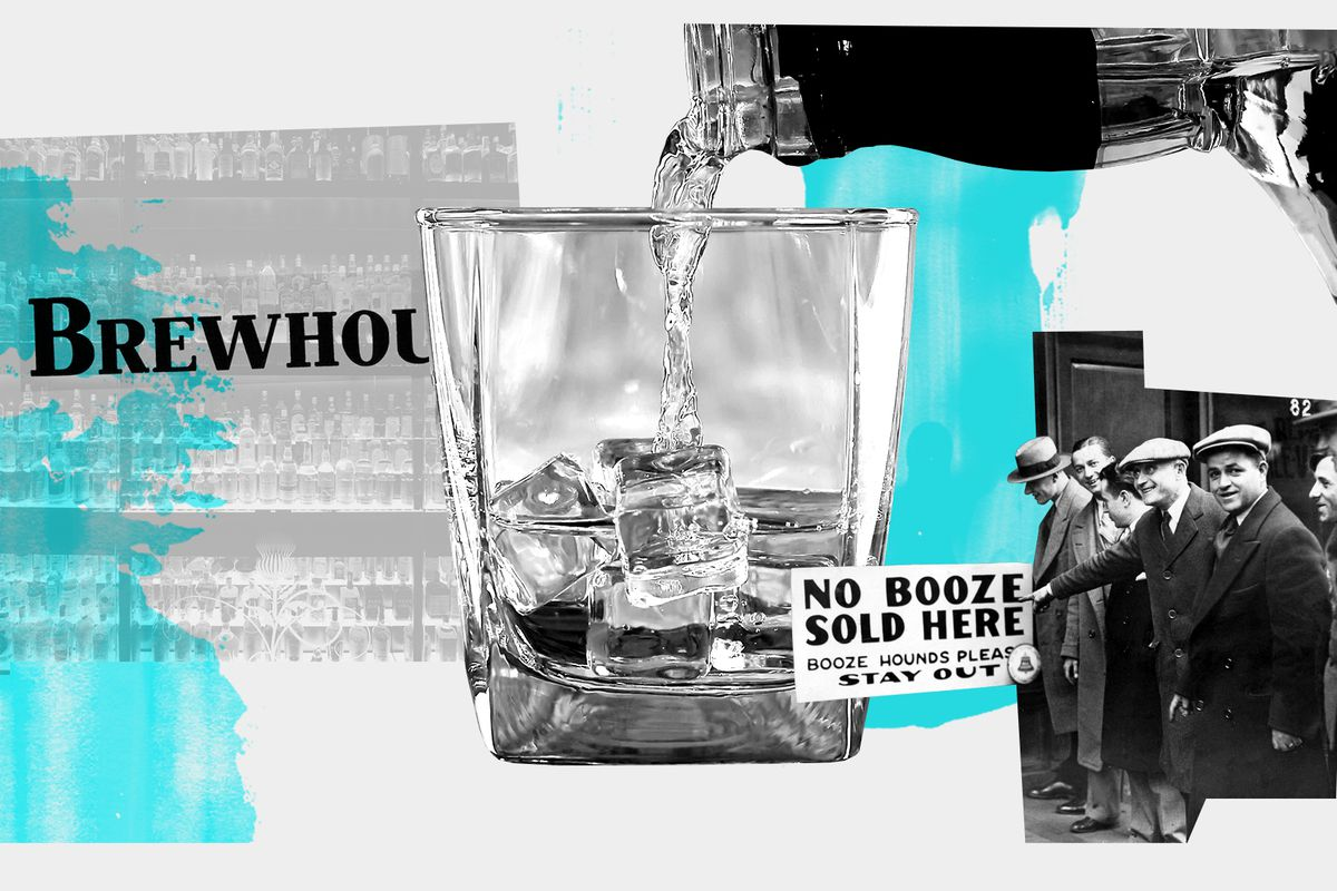 """Photo illustration of a glass with ice having liquid poured into it; 1930s era men line up beside a sign that reads """"No booze sold here."""""""