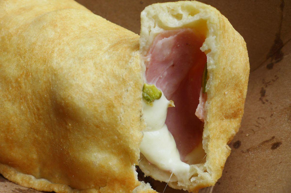 Mortadella and mozzarella panzerotto interior