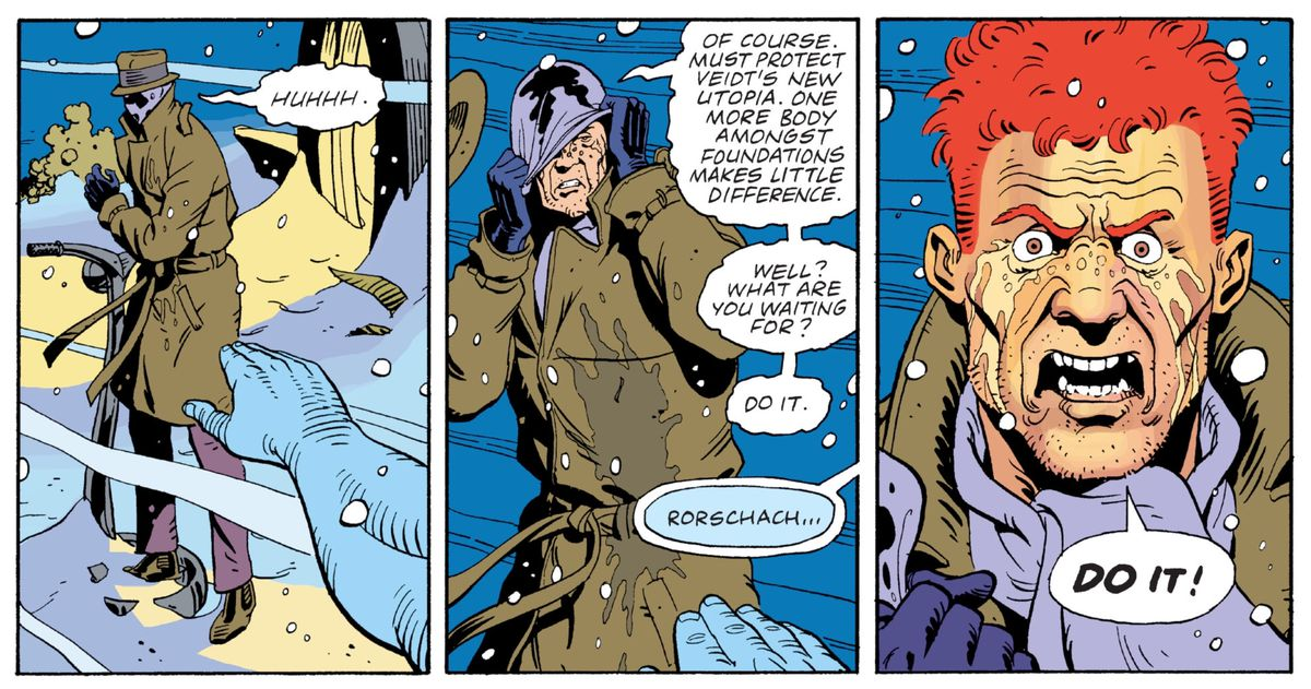 Rorschach screams at Doctor Manhattan to get it over with and kill him, in Watchmen, DC Comics (1987).
