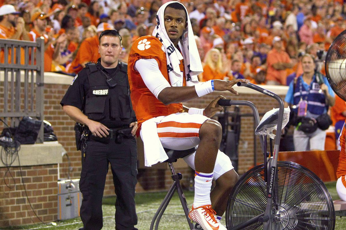 D. Watson was so hot during the game...he needed protection.