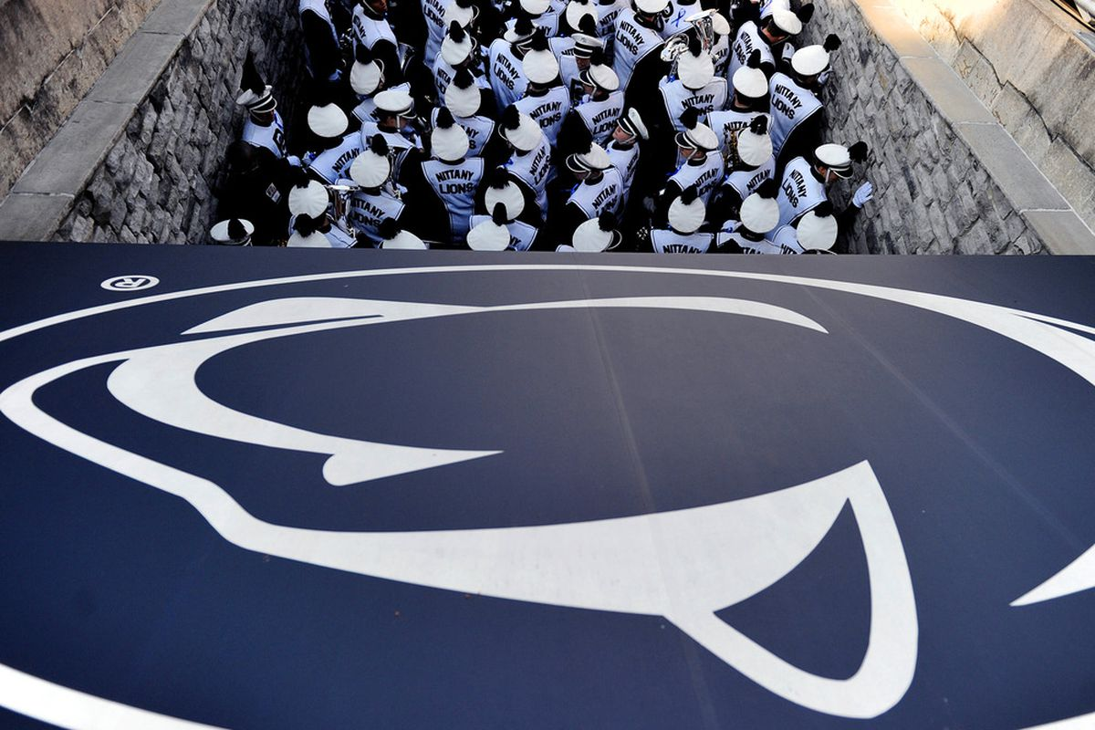 STATE COLLEGE, PA - NOVEMBER 12: The Penn State band takes the field before Penn State plays Nebraska at Beaver Stadium on November 12, 2011 in State College, Pennsylvania. (Photo by Patrick Smith/Getty Images)