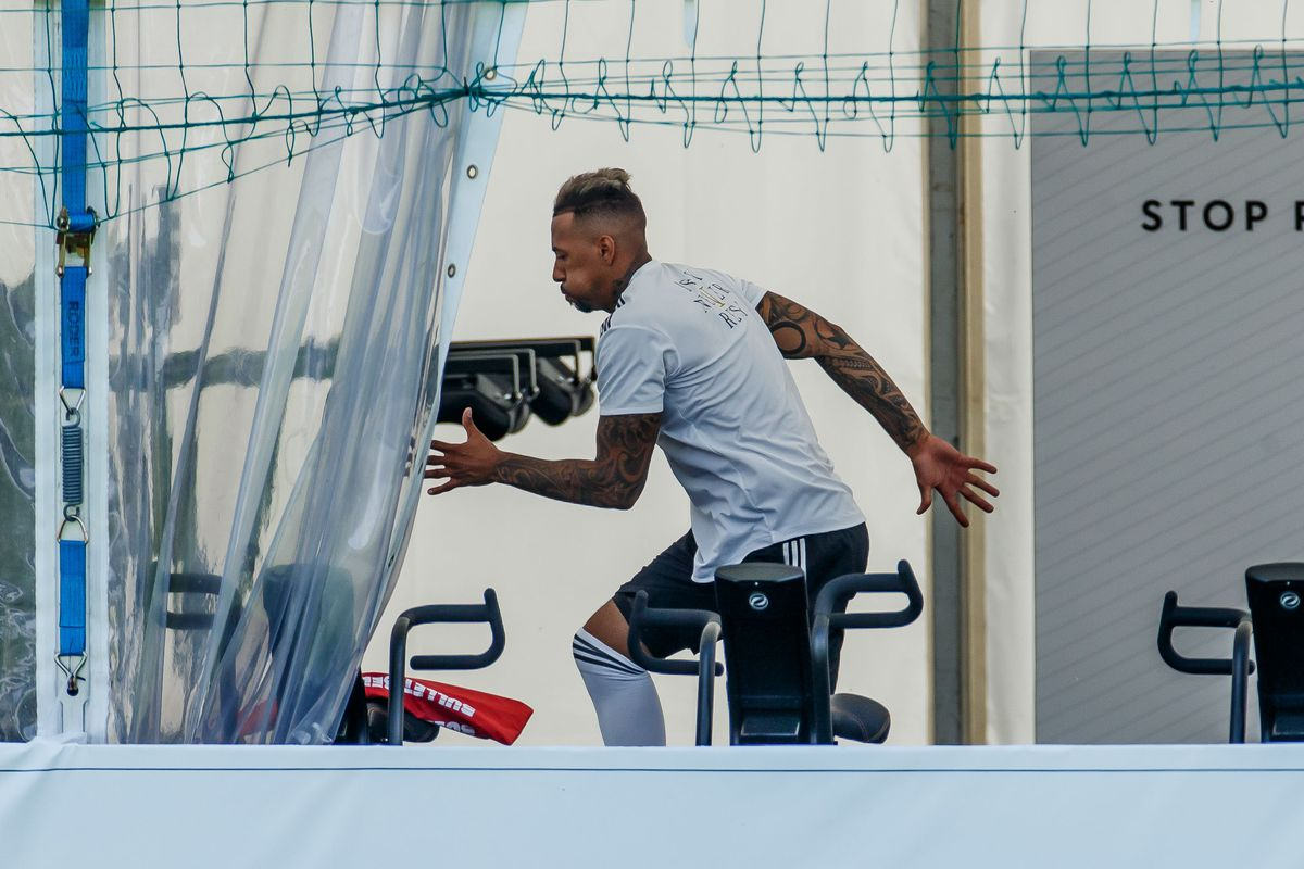 EPPAN, ITALY - MAY 28: Jerome Boateng of Germany in action during day six of the Southern Tyrol Training Camp on May 28, 2018 in Eppan, Italy.