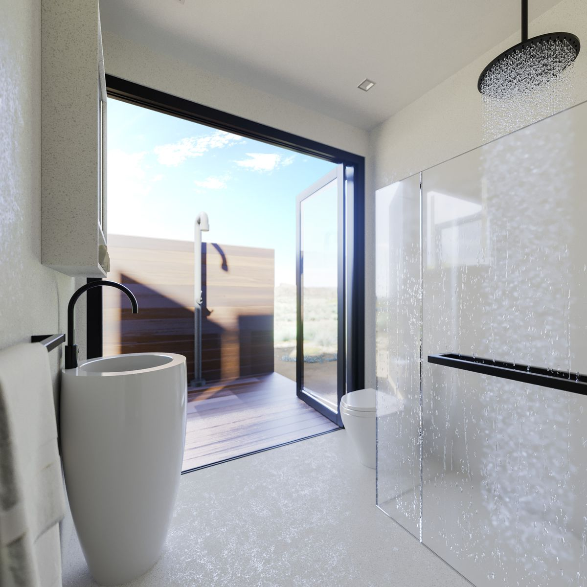 Waterfall shower in bathroom that opens to the outside.