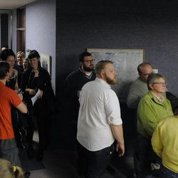 The halls are filled with people lined up to get their marriage license outside the Salt Lake County clerk's office after a federal judge ruled that Amendment 3, Utah's same-sex marriage ban, is unconstitutional on Friday, Dec. 20, 2013.