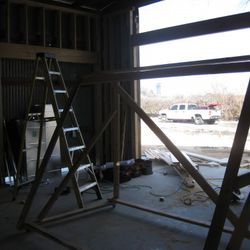 The dining room. To the right will be large wooden doors that open to the patio.