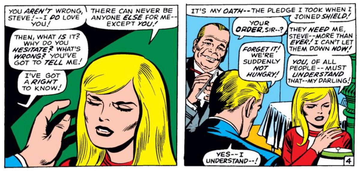 Agent 13 turns down Steve Rogers' proposal in Tales of Suspense #95, Marvel Comics (1967).