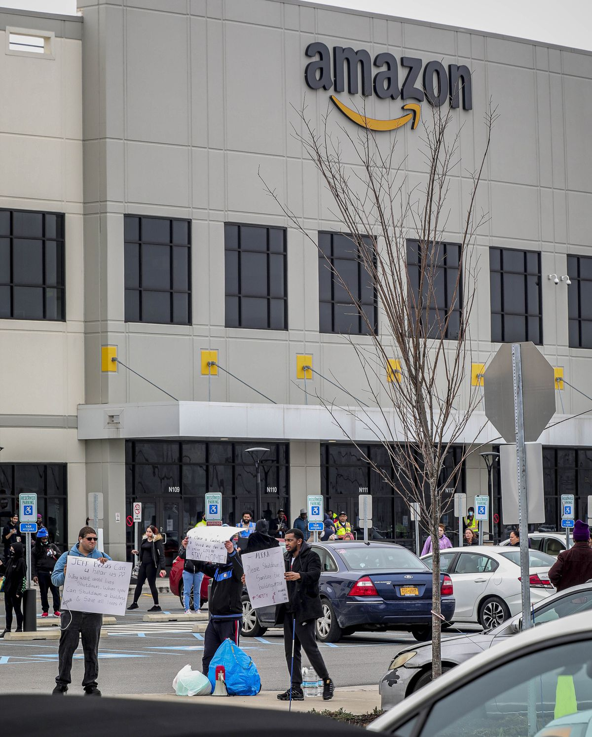 Workers at Amazon's fulfillment center in the Staten Island borough of New York protest work conditions in the company's warehouse.