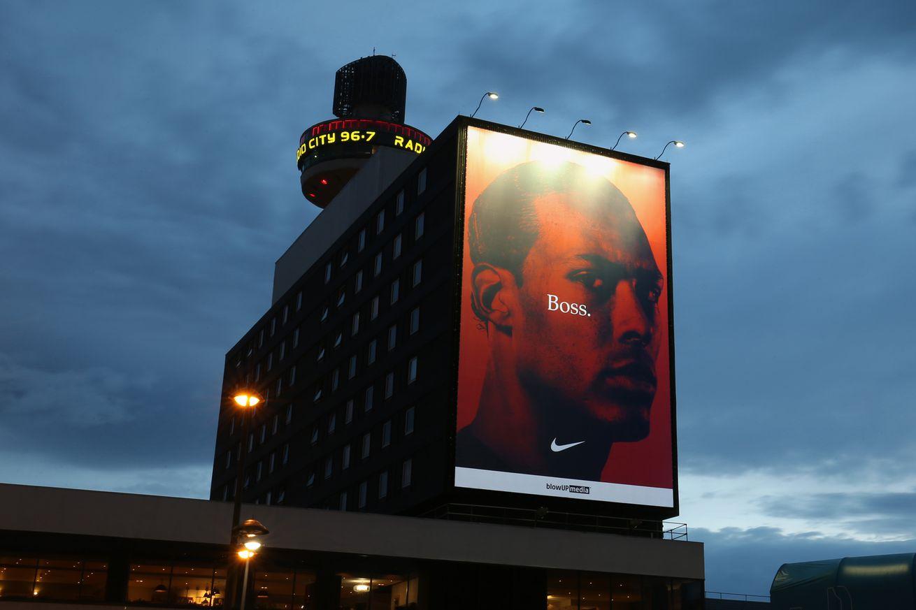 Virgil van Dijk Banner Displayed at Liverpool Lime Street